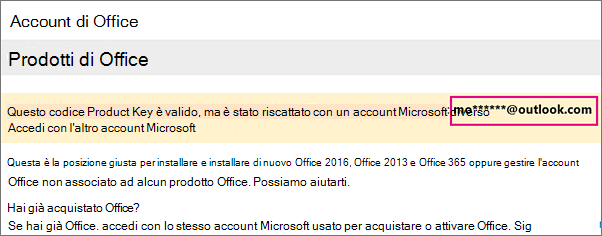 Pagina Account personale di Office con un account Microsoft parziale