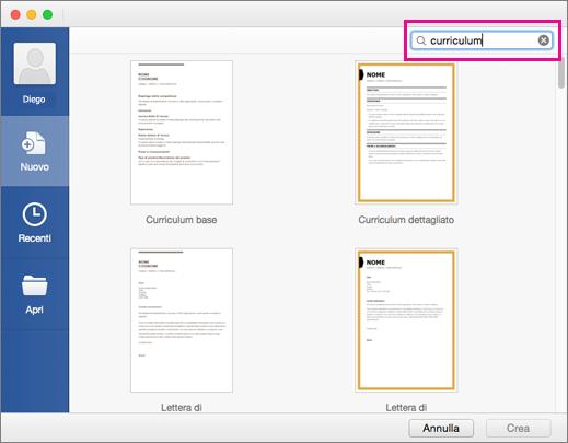Creare Un Curriculum Utilizzando Un Modello In Word Per Mac Word