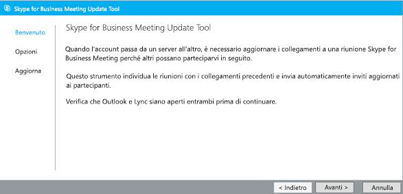 Schermata della pagina di benvenuto di Meeting Update Tool