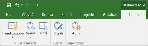 Screenshot della barra multifunzione di Project con la scheda Strumenti Agile