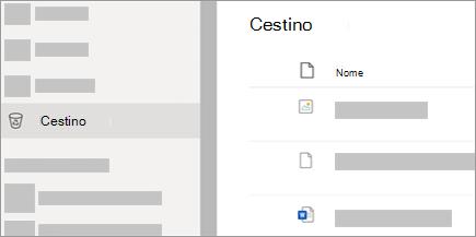 Screenshot della scheda Cestino in OneDrive.com.