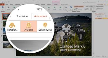 Screenshot che mostra la scheda Animazioni con l'animazione 3D Apertura selezionata in PowerPoint.