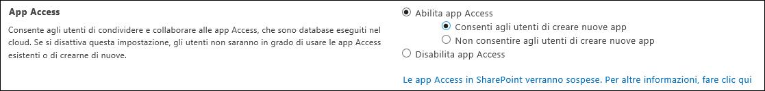 Screenshot delle impostazioni delle app Access nella pagina di amministrazione di SharePoint