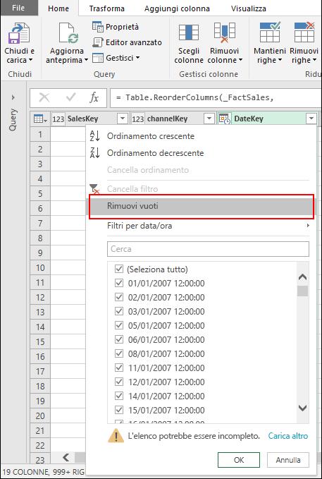 Power Query - Rimozione degli elementi vuoti tramite il menu Filtro colonna