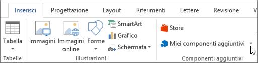 Schermata della sezione della scheda Inserisci sulla barra multifunzione di Word con un cursore che puntano ai componenti aggiuntivi selezionare i componenti aggiuntivi per accedere a componenti aggiuntivi per Word.