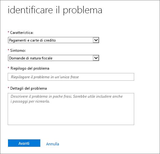 Identificare la pagina problema nel modulo di richiesta di Office 365 Admin Center servizio.