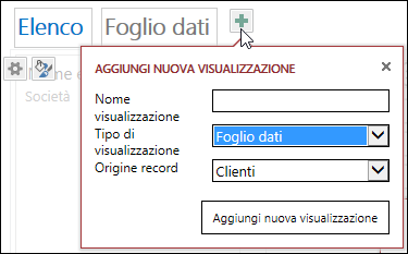 The Add New View dialog box