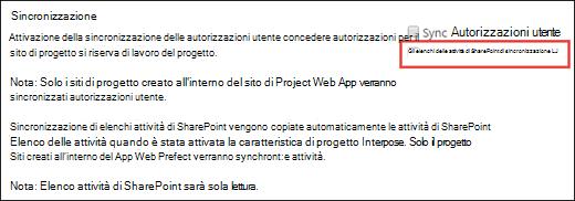 Elenchi di attività di sincronizzazione SharePoint