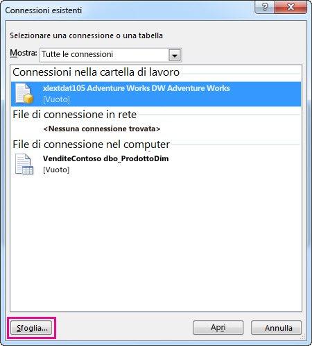 finestra di dialogo connessioni esistenti