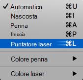 Scegliere puntatore laser dal menu a comparsa