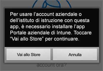Toccare Vai allo Store per ottenere l'app Portale aziendale Intune