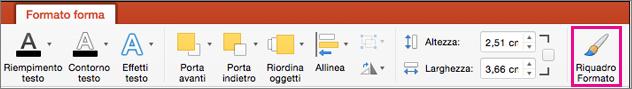 Scheda Formato forma di PowerPoint per Mac