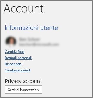 Riquadro Account con Privacy account e pulsante Gestisci impostazioni
