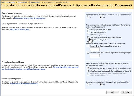 Impostazioni controllo versioni per attivare il controllo delle versioni e richiedere l'approvazione e l'archiviazione
