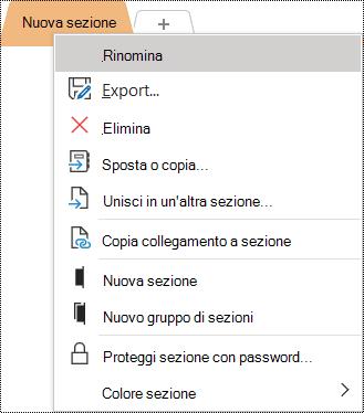Screenshot del menu di scelta rapida con l'opzione Rinomina selezionata.