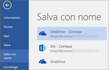 Salvataggio di un documento di Word in OneDrive for Business