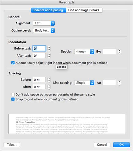 Screenshot della finestra di dialogo Paragrafo