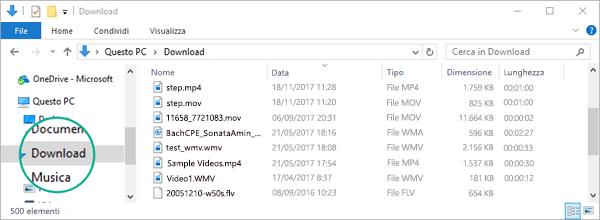 Il file convertito viene copiato nella cartella Download del computer