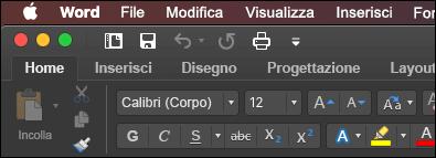 Barra multifunzione di Word per Mac in modalità oscura
