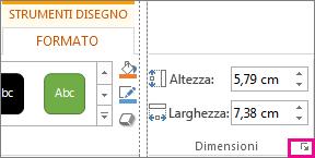 pulsante di visualizzazione della finestra di dialogo nel gruppo dimensioni della scheda strumenti disegno - formato
