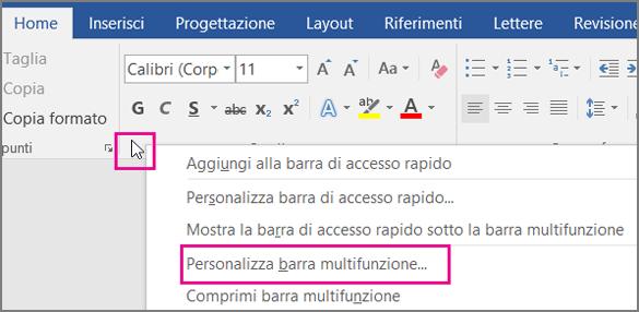 Posizionare il puntatore del mouse su uno spazio vuoto sulla barra multifunzione e fare clic con il pulsante destro del mouse, quindi scegliere Personalizza barra multifunzione.