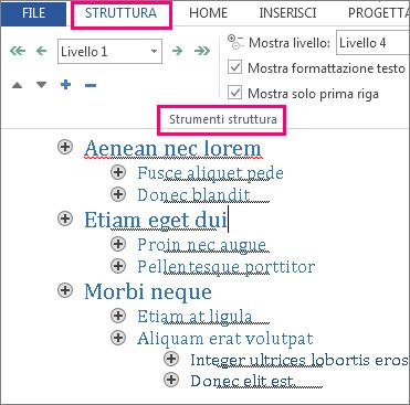 Immagine di alcuni degli strumenti Struttura nel menu Struttura con struttura di esempio nel testo lorem ipsum