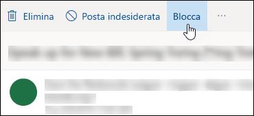 Opzione Blocca per i messaggi di Outlook.com