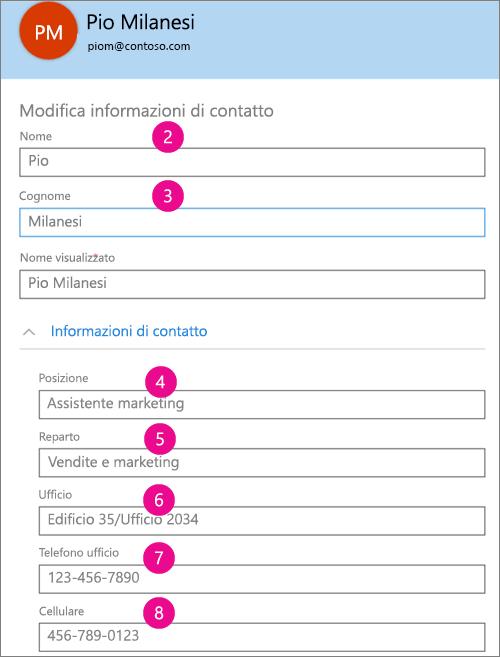 Screenshot dei campi del profilo sincronizzati in Yammer
