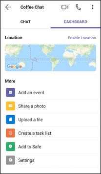 Dashboard della chat Android in teams per la tua vita personale