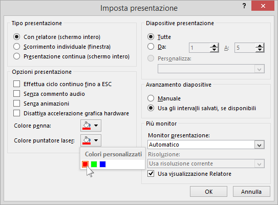 Mostra le opzioni del puntatore laser in PowerPoint