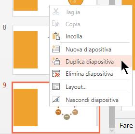 Fare clic con il pulsante destro del mouse su una diapositiva e scegliere Duplica diapositiva