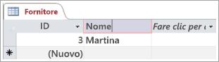 Parte di schermata della tabella Fornitori che mostra due righe con l'ID