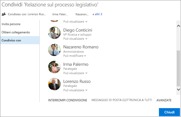 Screenshot della scheda Condivisi con nella finestra di dialogo Condividi