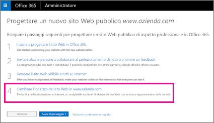 Nella pagina Disegna un nuovo sito Web pubblico scegliere il passaggio 4