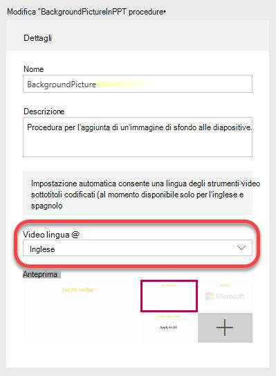 In informazioni dettagliate, specificare la lingua di Video