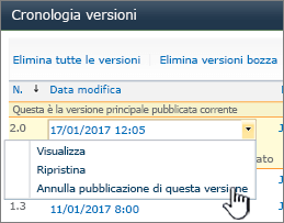 Elenco a discesa del controllo delle versioni con il comando Annulla pubblicazione evidenziato