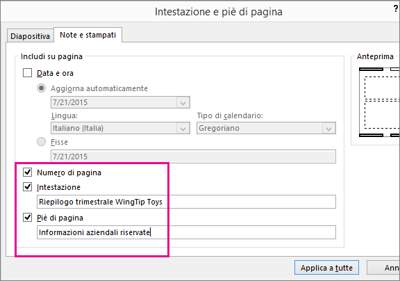 Mostra la finestra di dialogo Intestazione in PowerPoint