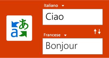 Pulsante Translator con una parola in inglese e la traduzione in francese