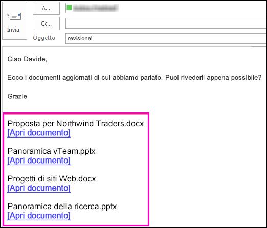 includere i collegamenti ai documenti in un messaggio di posta elettronica.