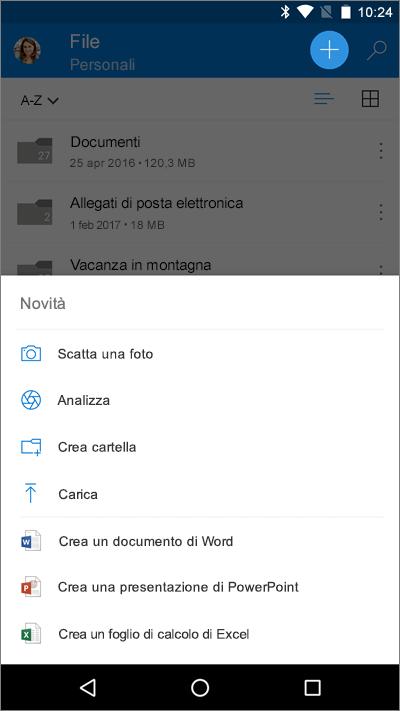 Screenshot della schermata File con il menu Aggiungi in Word per iOS.