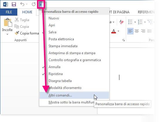 Personalizzare la barra di accesso rapido facendo clic su Altri comandi