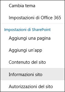 Schermata che mostra l'opzione del menu Informazioni sito di SharePoint.