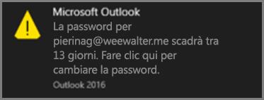 Immagine della notifica che viene visualizzata quando la password dell'utente sta per scadere.