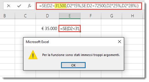 Messaggio di Excel quando si aggiunge una virgola a un valore