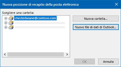 Finestra di dialogo posizione recapito posta elettronica di Outlook
