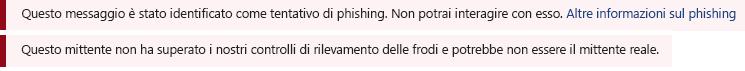 Screenshot della barra di sicurezza rossa in un messaggio di Outlook.