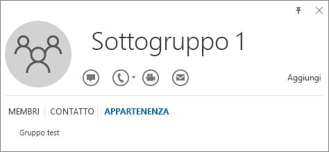 Screenshot della scheda Appartenenza della scheda contatto di Outlook per il gruppo denominato Sottogruppo 1, in cui il Sottogruppo 1 è un membro del gruppo denominato Gruppo di test.