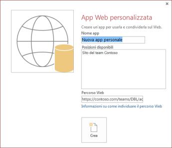La nuova finestra di dialogo App Web personalizzata che mostra il sito del team Contoso nella casella Posizioni disponibili.
