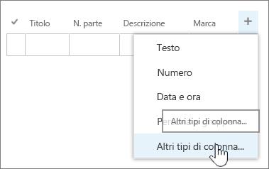 Menu di aggiunta colonna di Modifica rapida con Altri tipi di colonna evidenziato