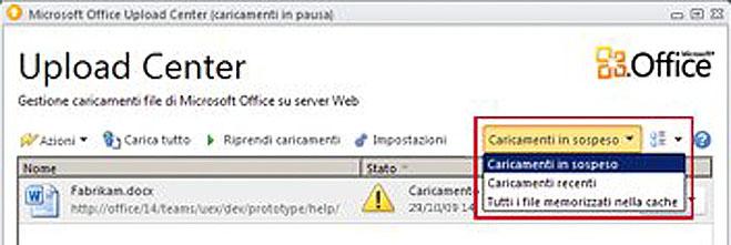 Office Upload Center con file in attesa di caricamento